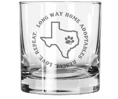 LWHA Low Ball Whiskey Glass, Texas (Pair)