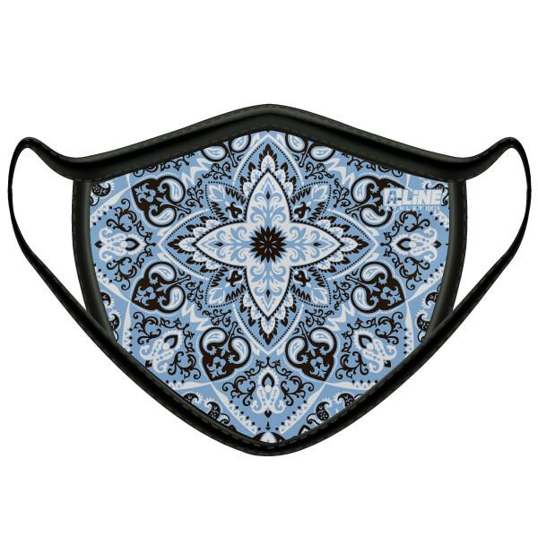 Bandanna Print Face Mask- Light Blue/Black