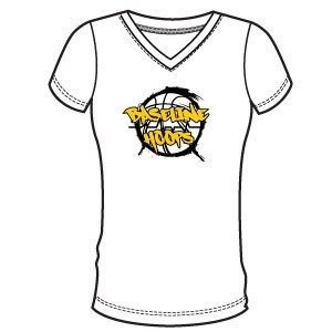 Baseline Hoops White Women's V Neck