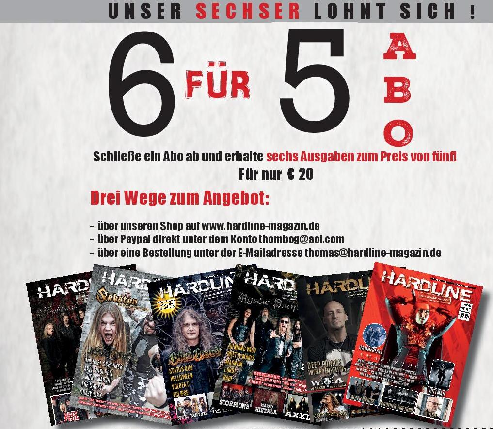 Hardline Magazin 6 Ausgaben Abo WORLDWIDE