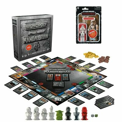 PREORDER 2020-12 Star Wars - Retro Collection - Monopoly Star Wars The Mandalorian Edition Game With Figure