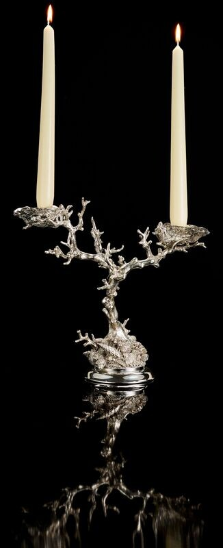 Silver Coral Candlestick