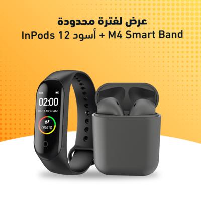 InPods 12 أسود + M4 Smart Band
