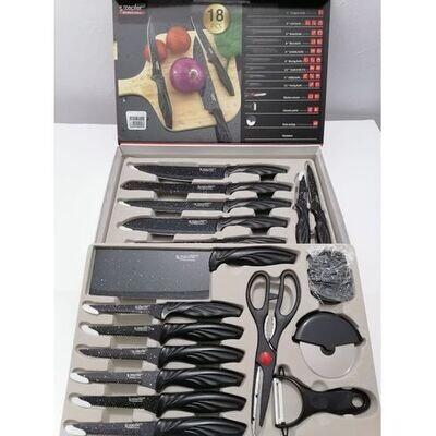طقم سكاكين ستانلس ستيل 18 قطعة لون اسود