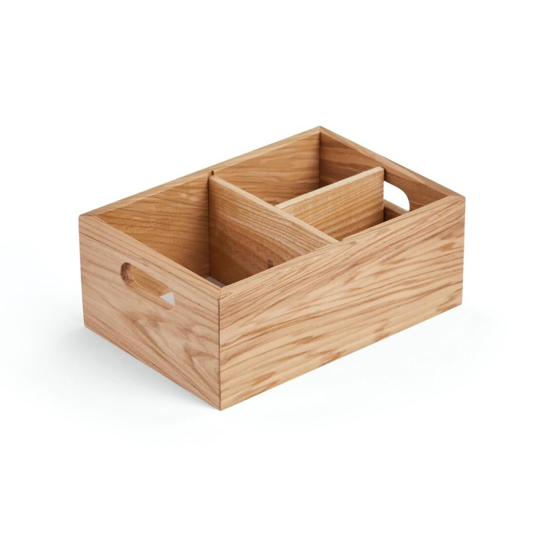 Ящик для хранения со съемными перегородками, 25х17х9 см, натуральный цвет дерева
