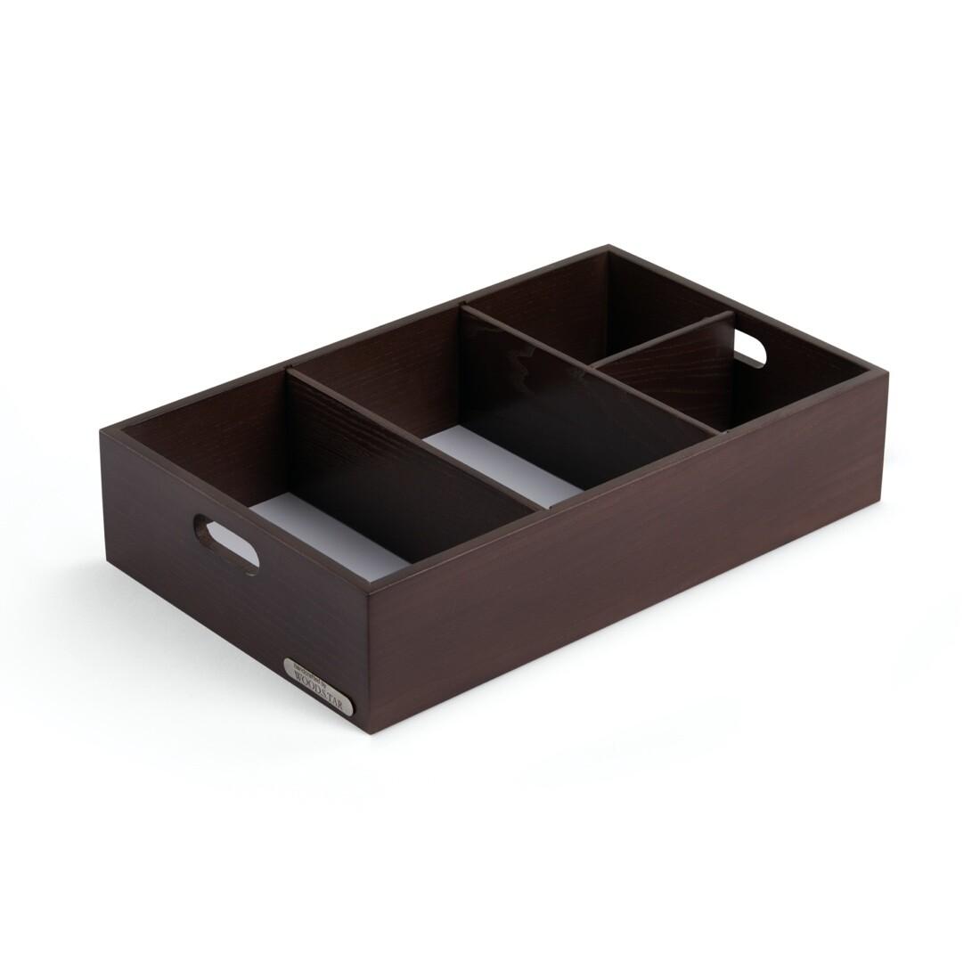 Ящик для хранения со съемными перегородками, 48х28х9 см, коричневый цвет дерева