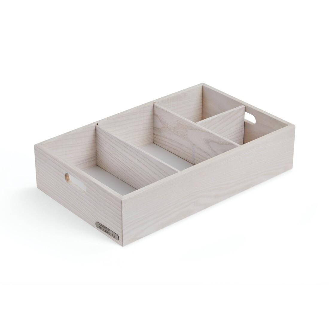 Ящик для хранения со съемными перегородками, 48х28х9 см, белый цвет дерева