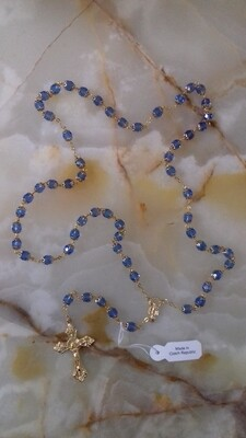 Sky Blue & Gold Rosary