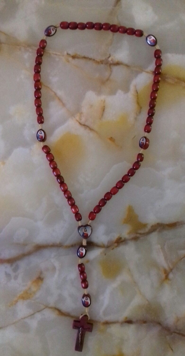 Red Wooden Bead Rope Rosary