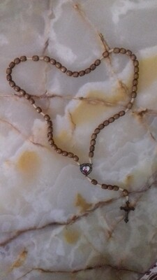Wooden Rope Rosary with heart-shaped centre-piece