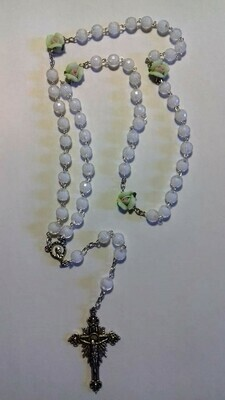 White bead Rosary with Green Roses