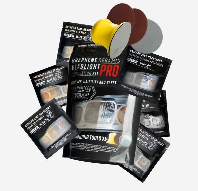 КЕРАМИЧЕСКИЙ НАБОР ДЛЯ ВОССТАНОВЛЕНИЯ ПРОЗРАЧНОСТИ ФАР С ГРАФЕНОМ, PRO / Graphene Ceramic Headlight Restoration Kit