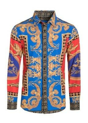 men designer inspired print dress shirts