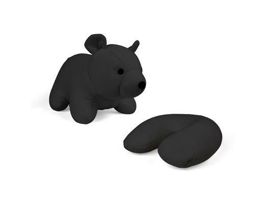 Zip & Flip Travel Pillow Black Bear