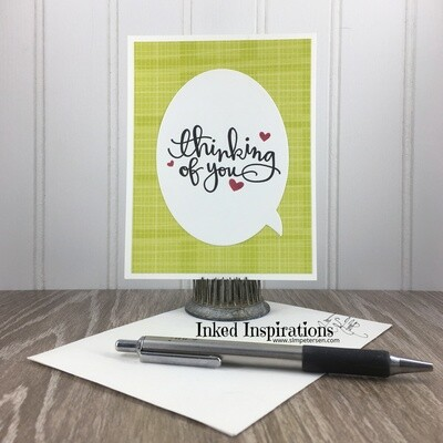 Thinking of You - Speach Bubble Green Plaid