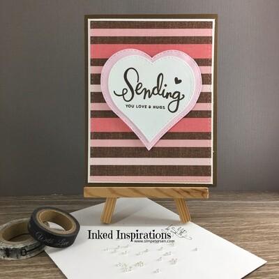 Sending You Love & Hugs - Pink & Brown Stripes