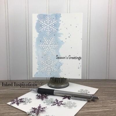 Season's Greetings - Watercolor & White Snowflakes