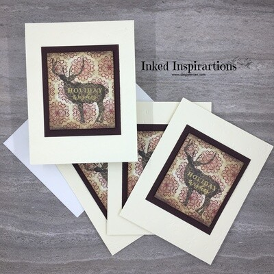 Holiday Wishes - Deer & Maroon Snowflakes