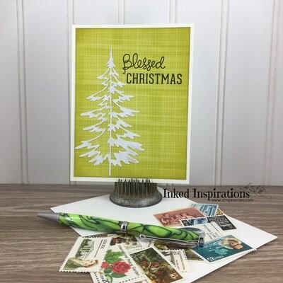 Blessed Christmas - Retro Plaid & White Tree