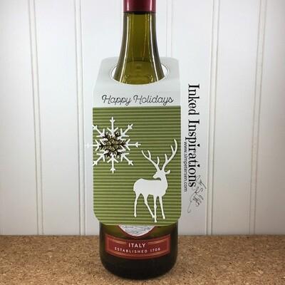 Wine Tag - Happy Holidays Deer