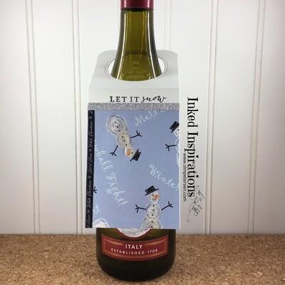 Wine Tag - Let It Snow Snowmen