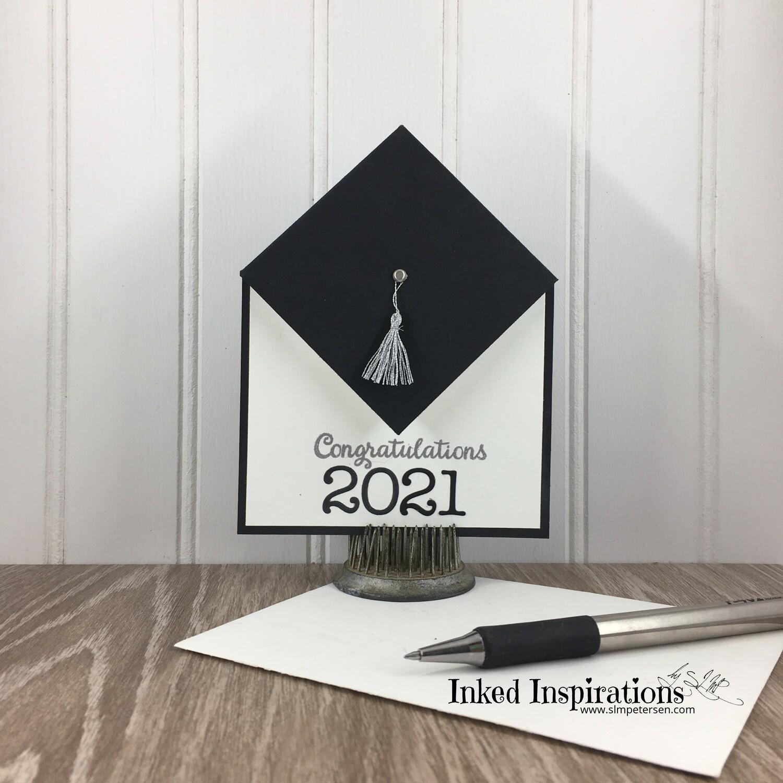 Congratulations - Black Graduation Cap Silver Tassel