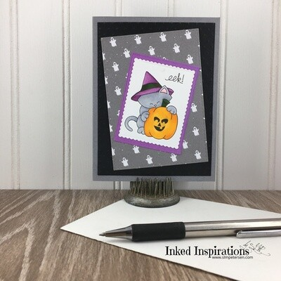 Eek! - Grey Kitty with Ghosts