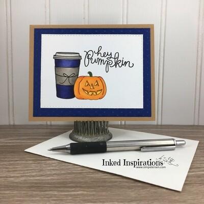 Hey Pumpkin -  Blue Cup & Jack O'lantern