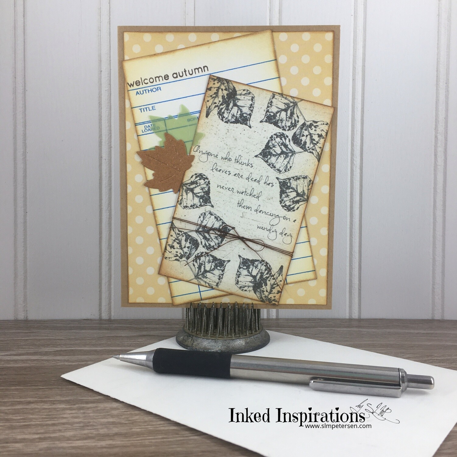 Welcome Autumn - Libary Card & Leaves