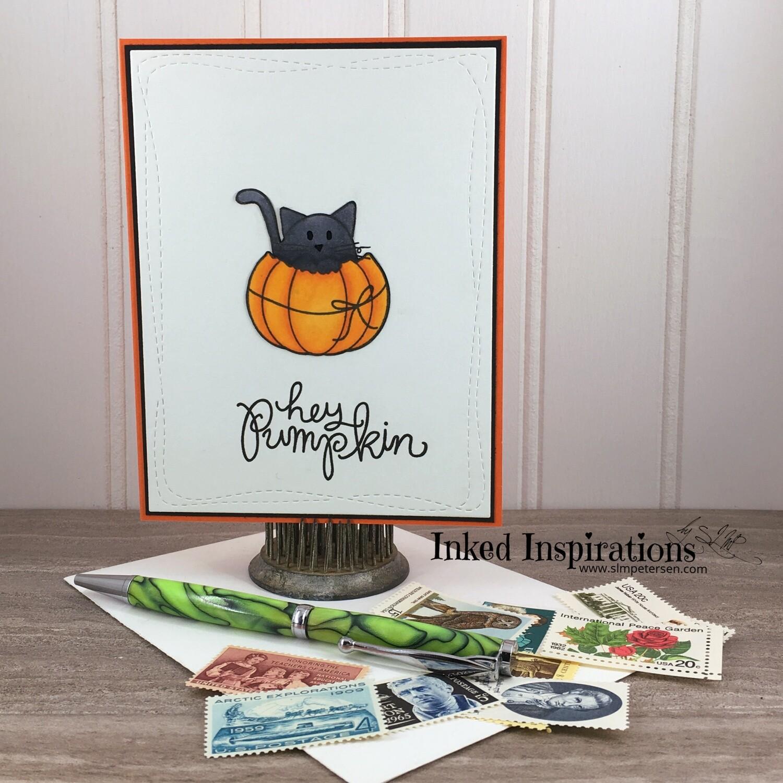 Hey Pumpkin - Grey Kitty & Pumpkin with Bow