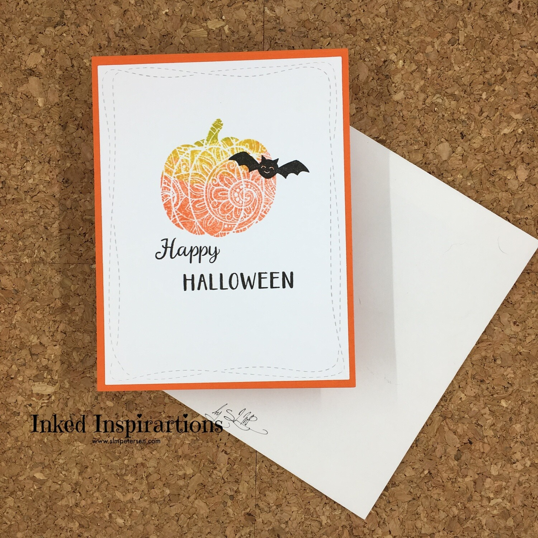 Happy Halloween - Onate Orange Pumpkin with Bat
