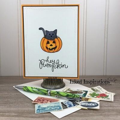 Hey  Pumpkin - Grey Kitty & Jack O'Lantern