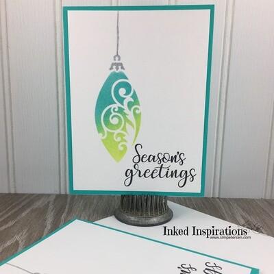 Season's Greetings - Blue & Green Ornament