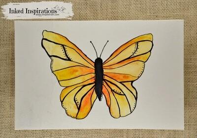 Yellow Butterfly - Watercolor Pen & Ink