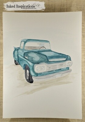 Teal Ford Truck - Watercolor