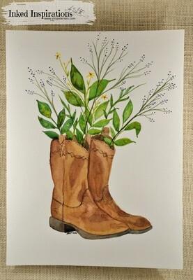 Brown Cowboy Boots Floral - Watercolor