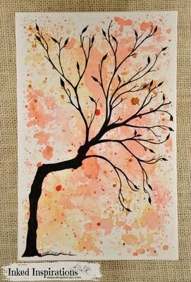 Autumn Tree - Distress Ink & Pen