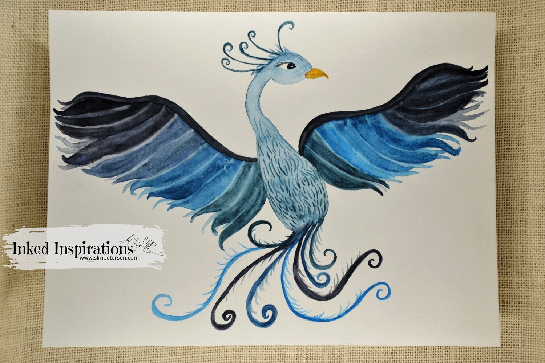 Blue Pheonix - Watercolor
