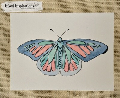Blue Butterfly - Watercolor with Pen Detail