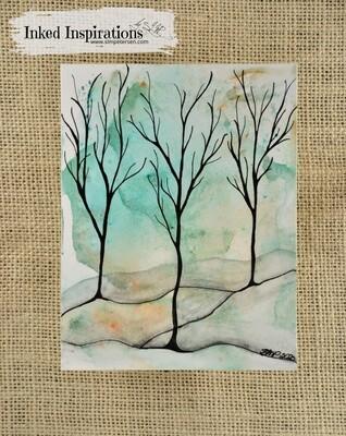 Winter Trees - Watercolor Pen & Ink