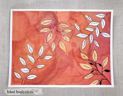 Abstract Fall Leaves - Watercolor with Pen Details