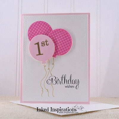 1st Birthday Wishes - Pink Balloons