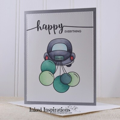 Happy Everything - Grey Car & Green Balloons