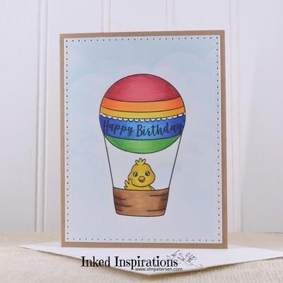 Happy Birthday - Chick in Hotair Balloon