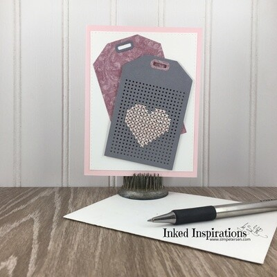 Pink Stitched Heart - Grey Tag