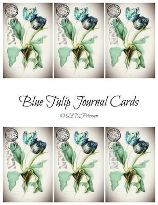 Blue Tulip Journal Cards - PDF