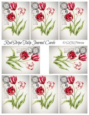 Red Stripe Tulip Journal Cards - PDF