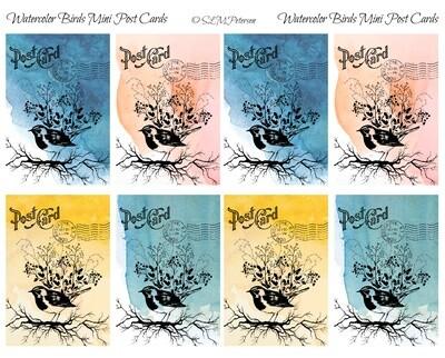 Watercolor Birds Mini Post Cards - PDF
