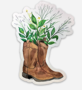Brown Cowboy Boots & Flowers