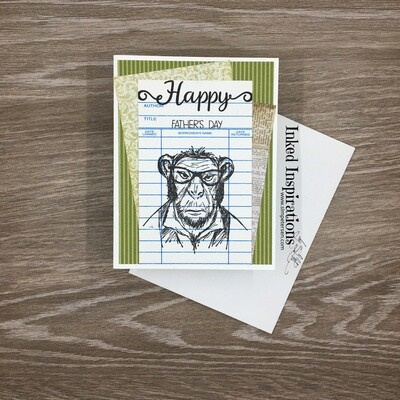 Happy Father's Day - Ape on Library Card
